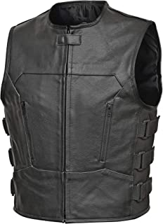 IKleather Mens Bullet Proof style Leather Motorcycle Vest for bikers Club Tactical Vest 3XL, Blue