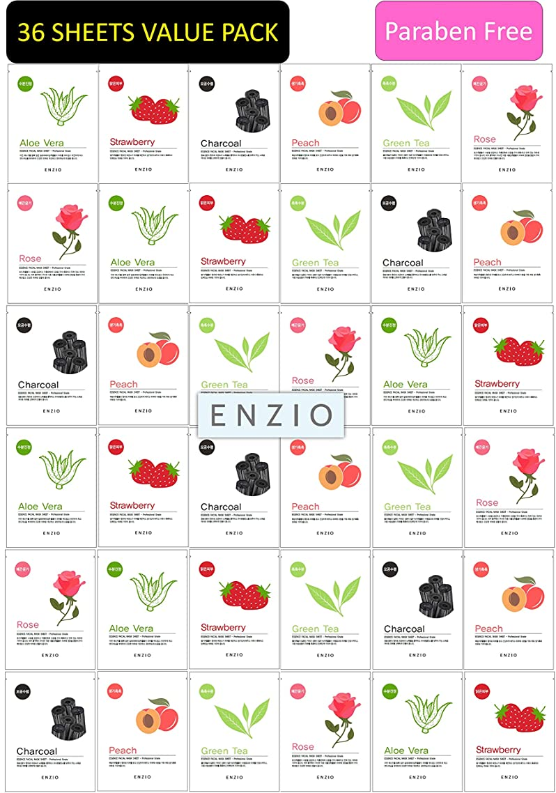 Enzio - Paraben-Free Korean Collagen Essence Natural Face Facial Mask Sheet Party Pack 36 Sheets (6 Variety x 6 Each)