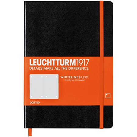 Leuchtturm1917 Medium A5 Hardcover Dotted Notebook- White Lines Special Edition- 249 Pages, Black with Orange Elastic Band