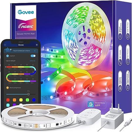Govee RGBIC LED Strip 5m, LED Streifen Bluetooth, Musik Sync, Segmentcontrol, Farbwechsel, 64 Szenenmodus, Steuerbar via App, für Party, Zuhause, Schlafzimmer, TV, KücheDeko