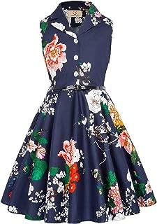 GRACE KARIN Girls Retro Sleeveless Floral Printed Swing Dresses with Belt