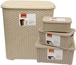 Jaypee Plus 4 Piece Plastic Laundry Basket with Lid Combo, 44 Liters, Beige