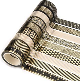 Yubbaex Washi Tape Set Gold Foil Print Decorative Tapes for Arts, DIY Crafts, Bullet Journals, Planners, Scrapbooking, Wrapping (15mm x 9 Rolls)