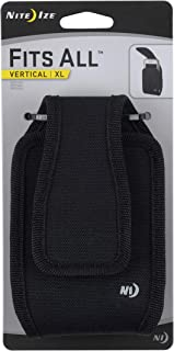 Nite Ize Fits All Phone Holster - Vertical or Horizontal  Protective, Clippable Cell Phone Holder For Your Belt Or Waistband - Horizontal - Extra Large - Black