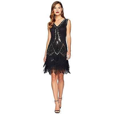 Unique Vintage 1920s Style Beaded Sylvie Flapper Dress (Black/Silver) Women