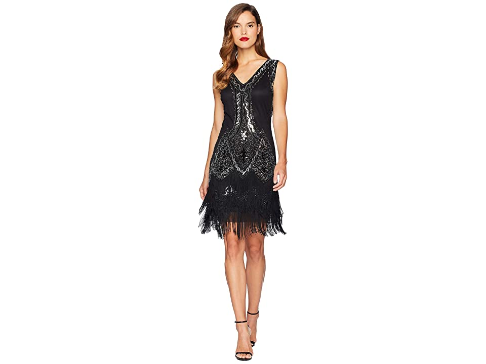 Unique Vintage 1920s Style Beaded Sylvie Flapper Dress (Black/Silver) Women