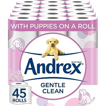 Andrex Toilet Roll - Gentle Clean Toilet Paper, 45 Toilet Rolls