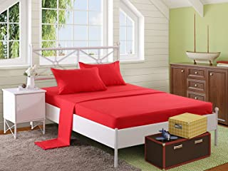 Snooze Flat Bedsheet 220x240 cm with 2 Pillowcases 50x70 cm - Red