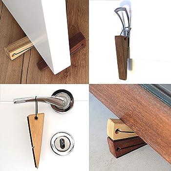 Door Stopper Decorative Doorstop Wedge- Pack of 1, Multi Surface Wooden Door Stop with Elastic Rubber Band, Non-Slip ...