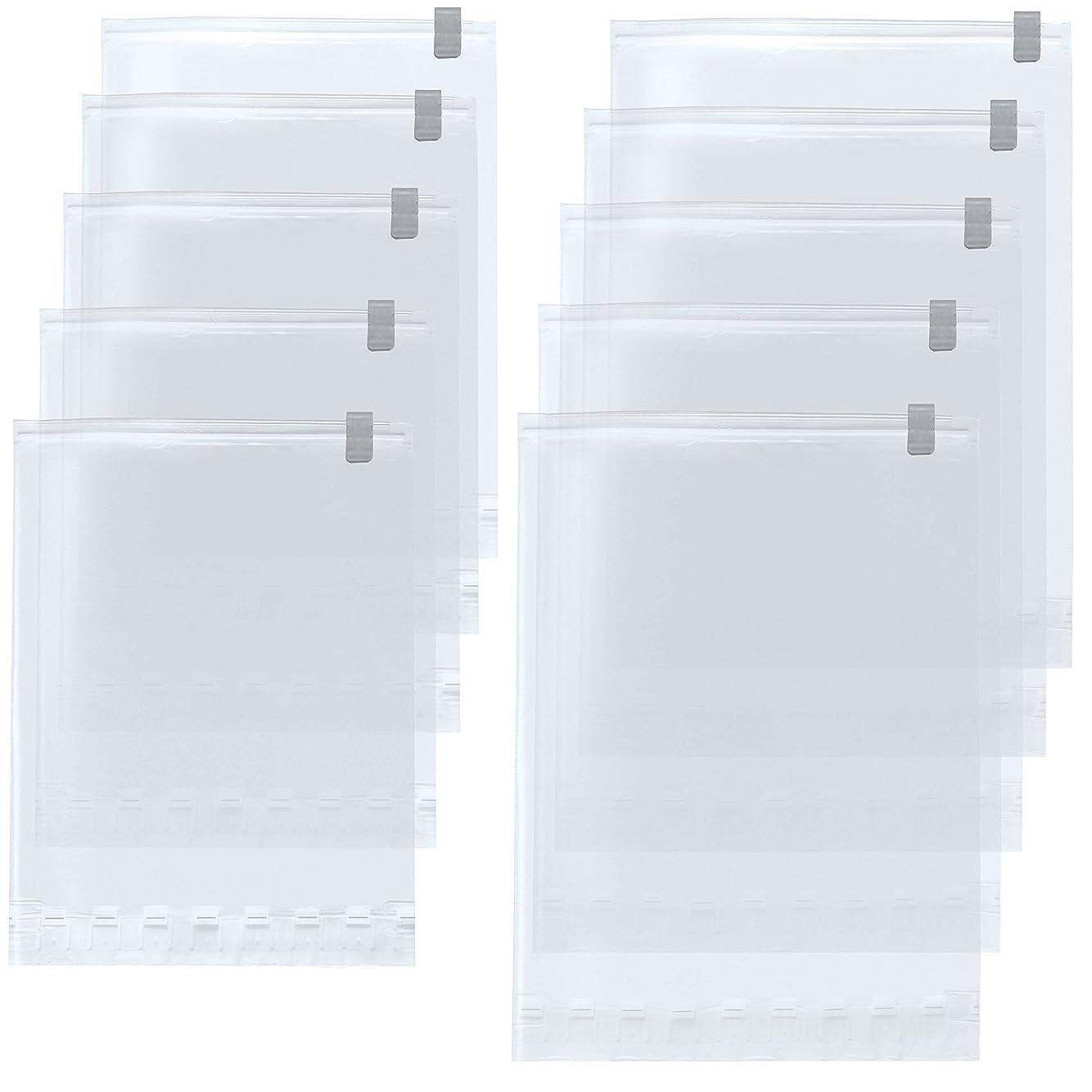 クランプめまい素子【Amazon.co.jp限定】 掃除機不要!  衣類圧縮袋 M?L 各5枚 10枚組 日本製 旅行 旅行用