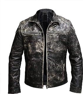 Price Right Cafe Racer Leather Jacket Men   Distressed Leather Jacket Men   Vintage Motorcycle Jacket   Mens Cafe Racer Ja...