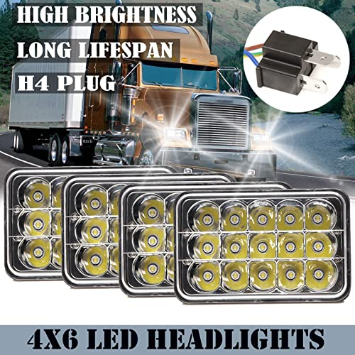 popular 4Pcs 4X6 Inch Sealed Beam LED Headlights for Peterbilt lowest 357/378/379 High Low Beam Truck Lights with H4 Plug H4651 H4652 sale H4656 H4666 H6545 H4668 H4642 Bright Replacement 6000K White, 2 Year Warranty outlet sale