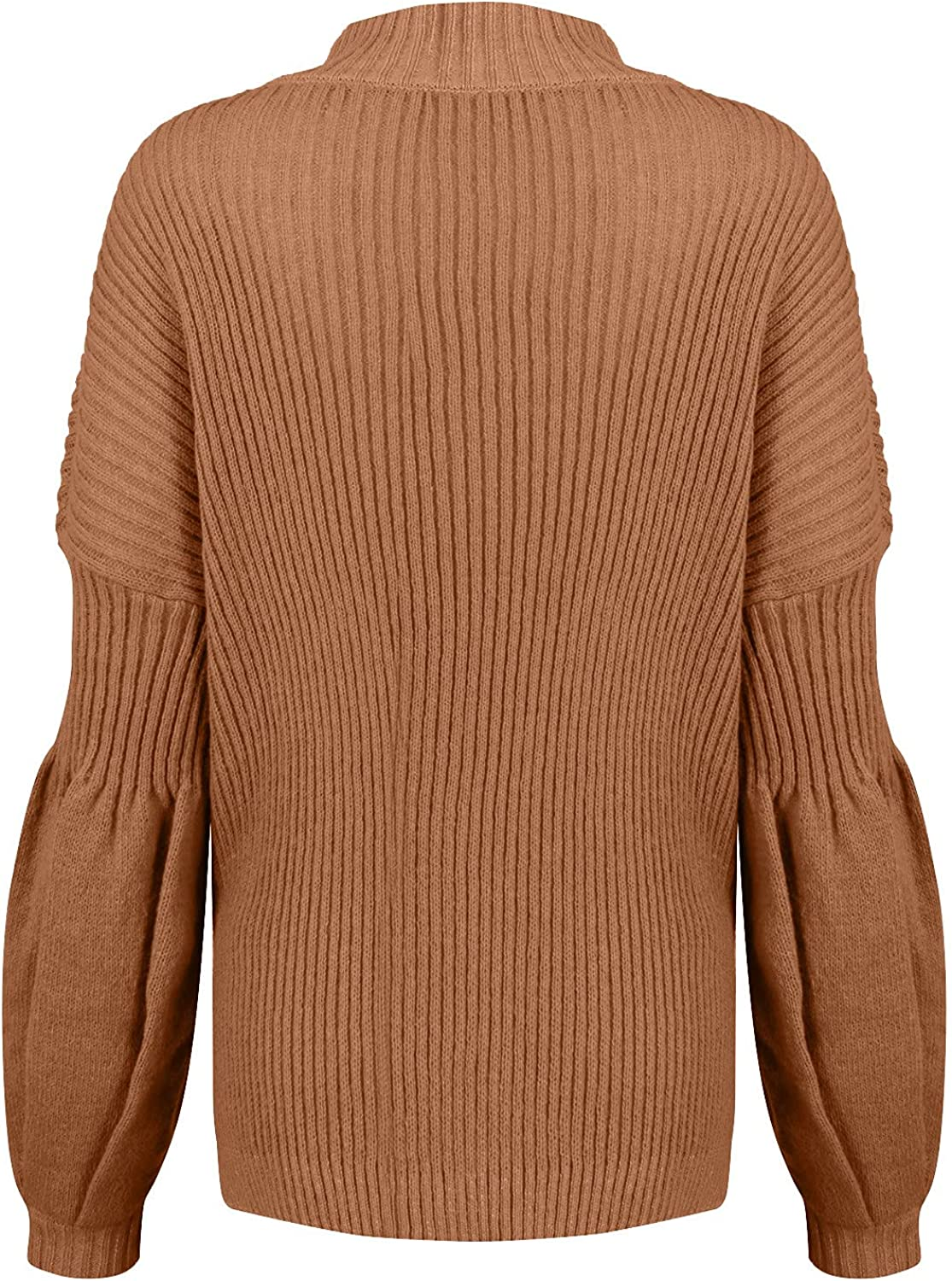 Women's Ribbed Knitted Sweater High Collar O-Neck Lantern Sleeve Pullover Tops Basic Solid Color Lightweight Blouse
