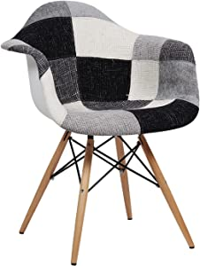 SuperStudio Lo + de Moda Wooden Arms Black & White Patchwork Edition Silla, Tela, Blanco y Negro, 62x51x35 cm, 2 Unidades