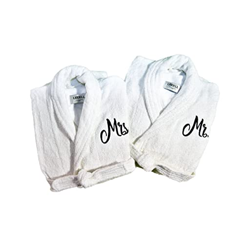 Resort Spa Home Décor Mr. and Mrs. Monogrammed Embroidered Luxury White  Terry Cotton 8f8f1b0bb