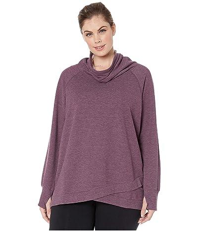 Jockey Active Plus Size R R Cowl Sweatshirt (Burgundy Bliss Heather) Women