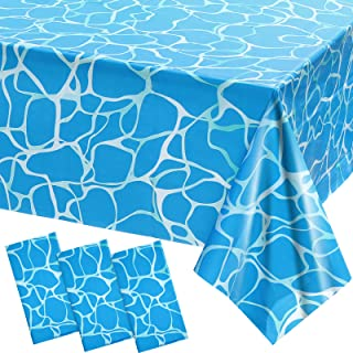 3 Pieces Ocean Party Table Covers Ocean Waves Tablecloth Water Print Plastic Tablecloth Under The Sea Table Cover for Ocea...