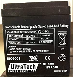 UltraTech UT-1240 12V, 4.5Ah Sealed Lead Acid Alarm Battery UT1240 ISO9001