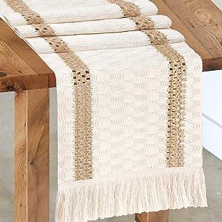 Senneny Macrame Table Runner, Cream Beige Boho Table Runner with Tassels, Hand Woven Cotton and Burlap Splicing Table Runn...