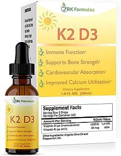 Liquid K2 D3 Drops by RK Formulas 1 oz • K2 (MK7) for Fast Effective Absorption • 4833 IU's Per Serving • All Natural Vita...