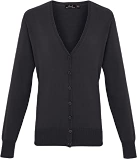 Premier Womens/Ladies Button Through Long Sleeve V-neck Knitted Cardigan