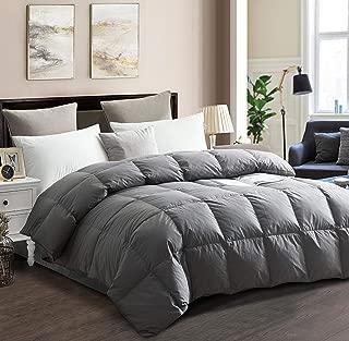 drtoor Luxurious Down Comforter, All Seasons Queen Duvet Insert, 100% Hypoallergenic Cotton Cover, 750+ Fill Power, 42oz Fill Weight – Grey, Queen Size