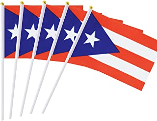 Best Hand Held Mini Flag Puerto Rico Flag Puerto Rican Flag Stick Flag 50 Pack Round Top National Country Flags, Party Decorations Supplies For Parades,World Cup,Sports Events,International Festival Review