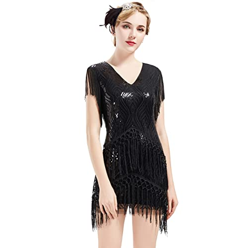 White Ladies 1920s Roaring 20s Flapper Gatsby Costume Sequins Outfit Dress