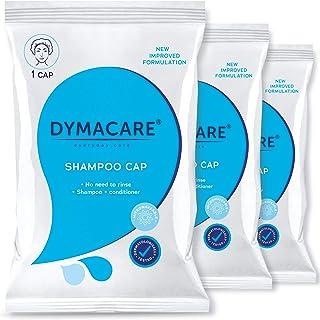 DYMACARE Gorra de champú sin enjuague   Gorra de ducha sin enjuague que champús y condiciones   PH equilibrado e hipoalergénico Lavado de cabello sin agua (set de 3 gorros)