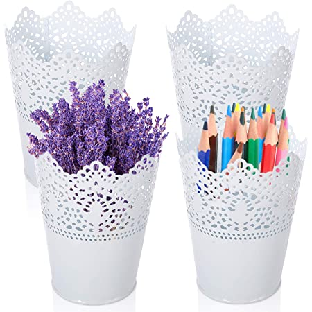 Multifonction Pot de Fleur,Pot de Fleurs Vase Pot à Crayons,Stylo Organisateur de Pinceau de Maquillage,pots à crayons en plastique creux pour bureau,Stylo Organisateur de Pinceau de Maquillage (A)