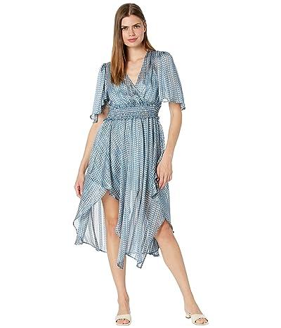 BCBGMAXAZRIA Printed Drape Front Day Dress