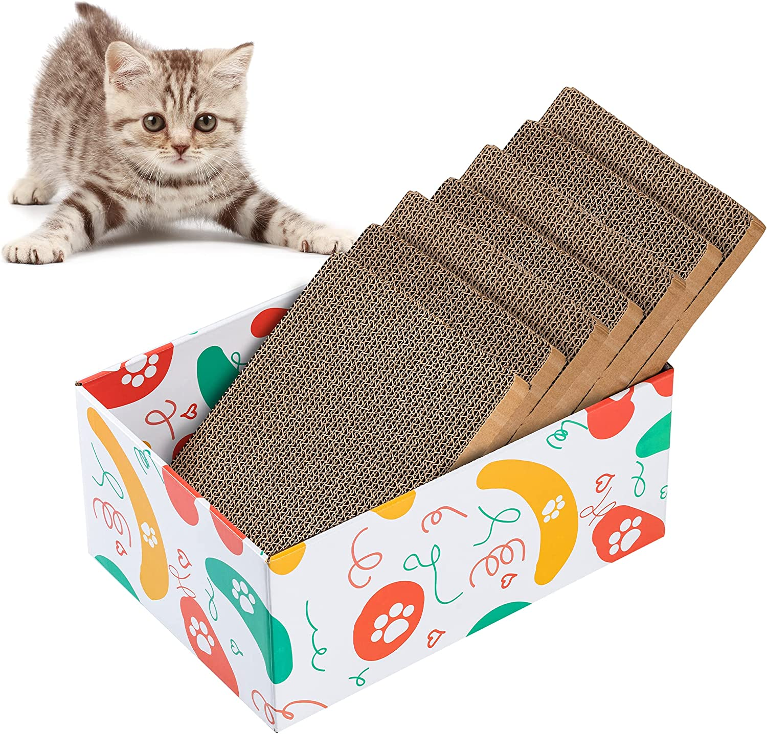 DOKDAK Cat Scratcher Box with Cat Scratching pad, 7 PCS Reversible Corrugated Cardboard, Scratcher Lounge cattery for Sofa Furniture Protection, Cat Training Toy Refill Box