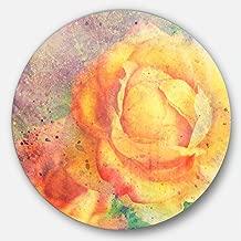 "Designart ""Yellow Rose Watercolor Floral Large"" Metal Wall Art, 23 x 23"", Yellow/Purple"