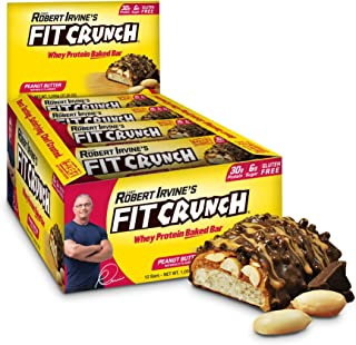 FITCRUNCH Protein Bars | Designed by Robert Irvine | World's Only 6-Layer Baked Bar | Just 6g of Sugar & Soft Cake Core (12 Bars, Peanut Butter)