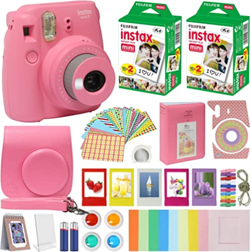 Fujifilm Instax Mini 9 Instant Kids Camera Flamingo Pink with Custom Case + Fuji Instax Film Value Pack (40 Sheets) A...
