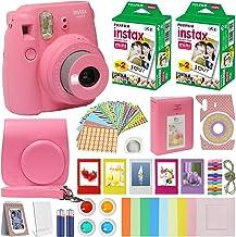Fujifilm Instax Mini 9 Instant Kids Camera Flamingo Pink with Custom Case + Fuji Instax Film Value Pack (40 Sheets) Access...