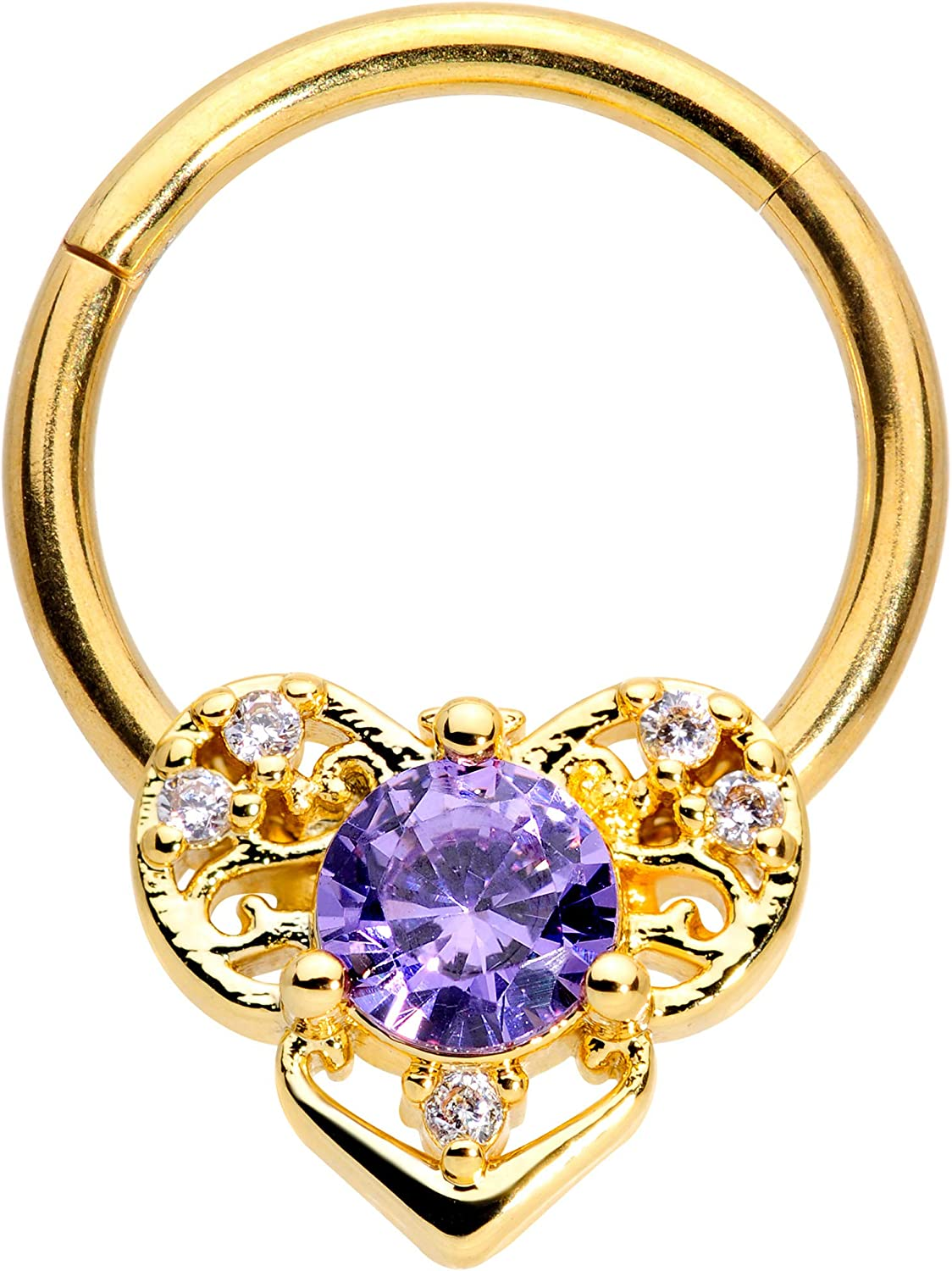 Body Candy 16G PVD Steel Segment Ring Seamless Cartilage Septum Purple Accent Abstract Heart Nose Hoop 3/8
