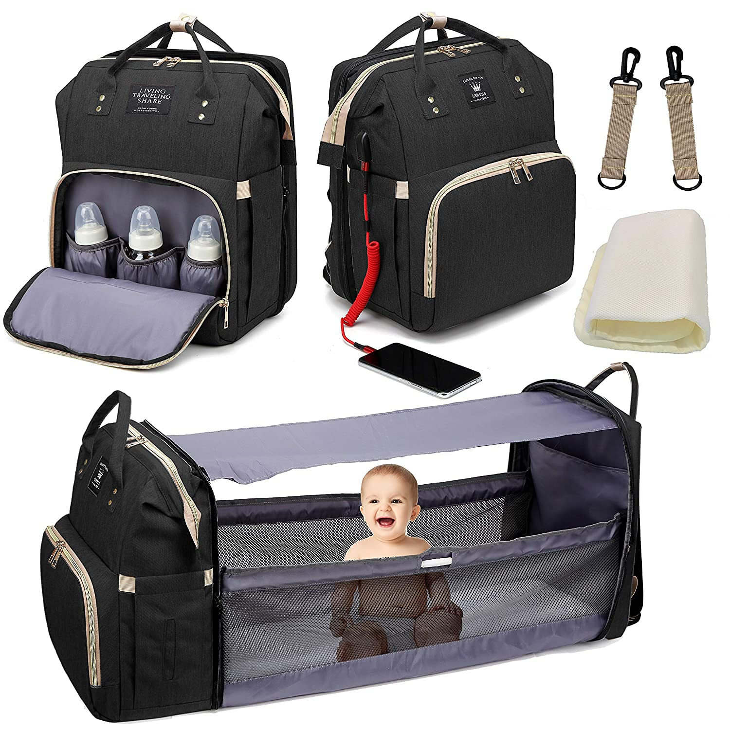 Diaper Bag Backpack, 3 in 1 Mommy Bag with Changing Station, Travel Bassinet Foldable Baby Bed, Baby Bag Portable Crib with Bed and Diaper Bag (Black)