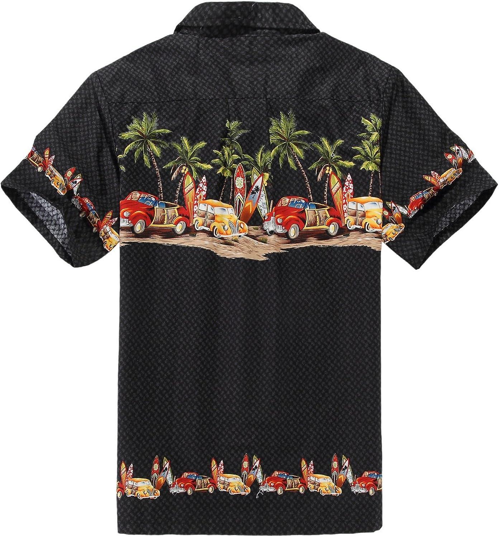 Hombres Aloha camisa hawaiana en Coches antiguos Palmeras Tablas de surf en Negro