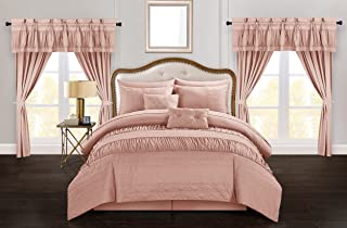 Chic Home Mykonos 20 Piece Comforter Set Striped Ruched Ruffled Embossed Bag Bedding, Queen, Coral