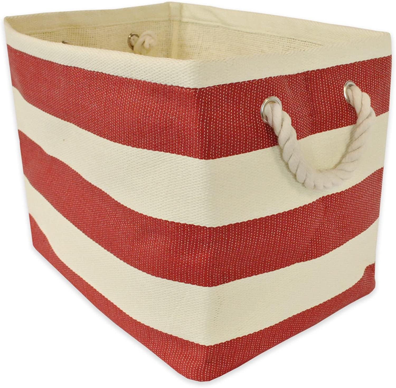 Diva At Home 17  Tange Red and Ivory Striped Pattern Large Sized Rectangular Paper Basket