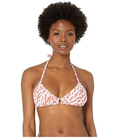 MICHAEL Michael Kors Triangle Bikini Top with Ring Trim and Removable Soft Cups (Sea Coral) Women