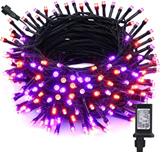 Toodour Orange & Purple Halloween Lights, 82ft 200 LED Halloween String Lights with 8 Modes, Timer, Low Voltage, Connectab...