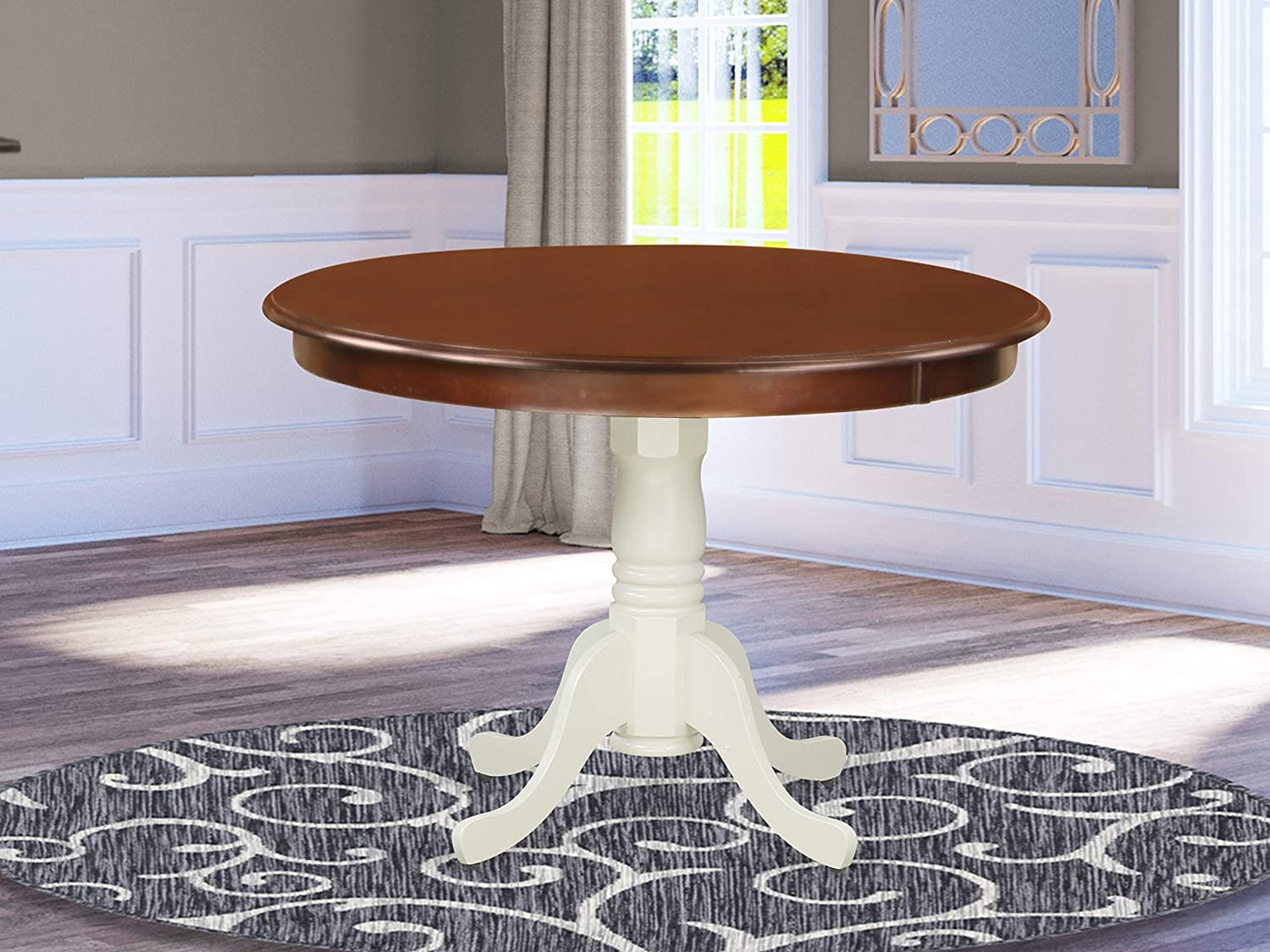 East West Furniture Hartland Mid-Century Dining Table- Mahogany Table Top Surface and Linen White Finish legs Solid Wood Frame Dinner Table