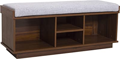 Amazon Brand – Ravenna Home Upholstered Entryway Cushioned Storage Bench - 47 1/4-Inch, Espresso