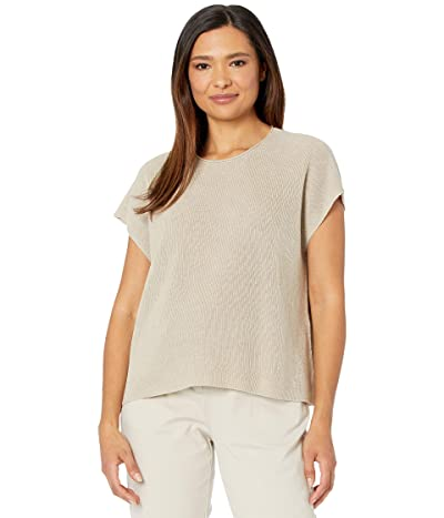 Eileen Fisher Organic Linen Cotton Crew Neck Top (Natural) Women
