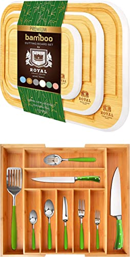 2021 Rounded Cutting Board Set of new arrival 3 (White) and Silverware Drawer outlet sale Organizer online sale
