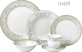 Lorren Home Trends LH439 24 Piece Silver Border Porcelain Dinnerware Set-Service for 4-Olympia-Mix and Match, One Size, White