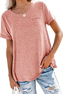 Women's Comfy Casual Loose Short Sleeve Tops Blouse Tunic T Shirts