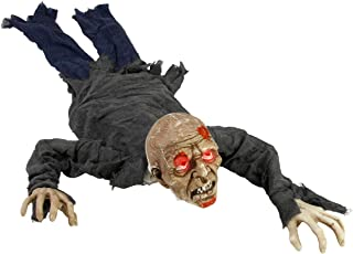 Halloween Haunters Animated Crawling Speaking Groundbreaker Zombie Reaper Prop Decoration - Moving Body, Creepy Moans Howls, Calls Out for Brains - Battery Operated - Haunted House Graveyard Display